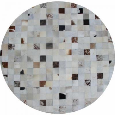 Luxus bőr szőnyeg 200 cm, kerek, absztrakt barna kockás - PIXEL